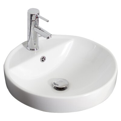 Ceramic Circular Undermount Bathroom Sink with Overflow