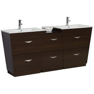 75.5 Double Modern Bathroom Vanity Set Hardware Finish: Chrome, Faucet Mount: Single