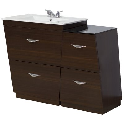 43.5 Single Modern Bathroom Vanity Set Faucet Mount: 4 Off Center, Hardware Finish: Brushed Nickel
