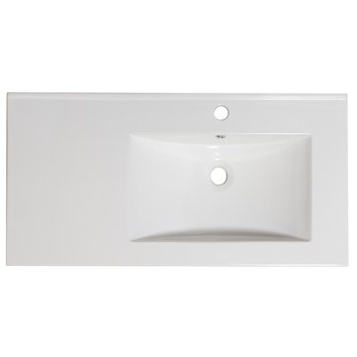 36 Single Bathroom Vanity Top Hardware Finish: White, Faucet Mount: Single
