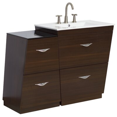 40.5 Single Modern Bathroom Vanity Set Faucet Mount: 8 Off Center, Hardware Finish: Aluminum