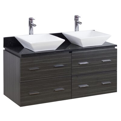 48 Double Modern Wall Mount Bathroom Vanity Set Hardware Finish: Aluminum