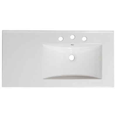 36 Single Bathroom Vanity Top Faucet Mount: 4 Off Center, Hardware Finish: White