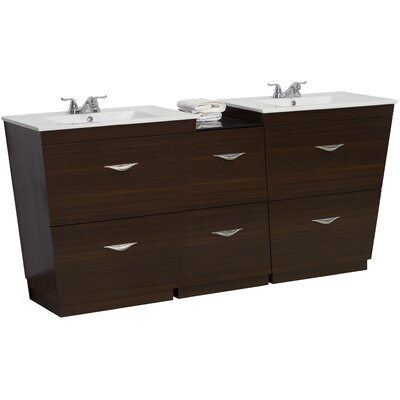 67.5 Double Modern Bathroom Vanity Set Faucet Mount: 4 Off Center, Hardware Finish: Brushed Nickel