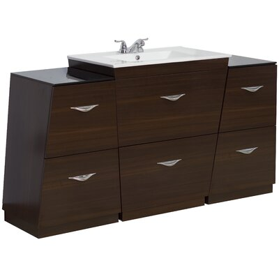 63 Single Modern Bathroom Vanity Set Hardware Finish: Brushed Nickel, Faucet Mount: 4 Off Center