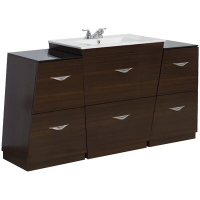 67 Single Modern Bathroom Vanity Set Hardware Finish: Brushed Nickel, Faucet Mount: 4 Off Center