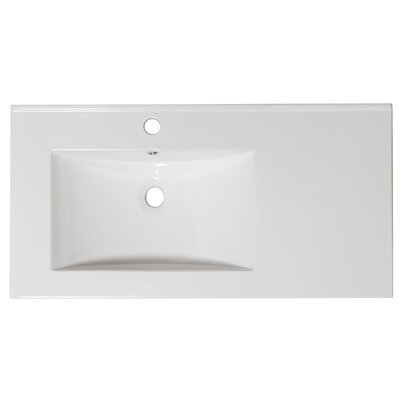 36 Single Bathroom Vanity Top Hardware Finish: Aluminum, Faucet Mount: Single