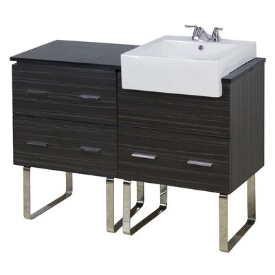 48 Single Modern Bathroom Vanity Set Hardware Finish: Aluminum, Faucet Mount: Single