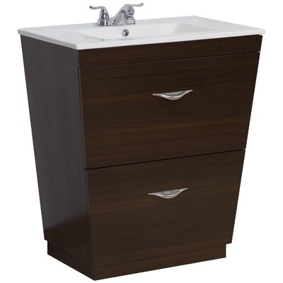 30 Single Modern Bathroom Vanity Set Hardware Finish: Brushed Nickel, Faucet Mount: 4 Off Center