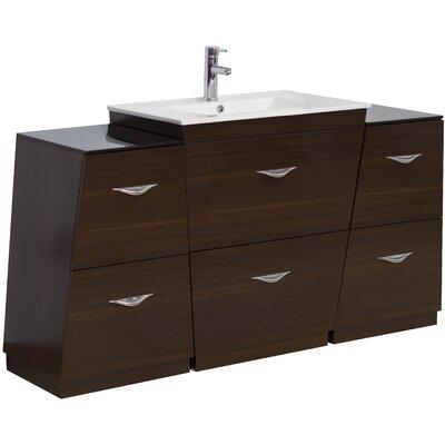 67 Single Modern Bathroom Vanity Set Hardware Finish: Chrome, Faucet Mount: Single