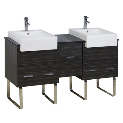 62 Double Modern Bathroom Vanity Set Faucet Mount: Single, Hardware Finish: Chrome