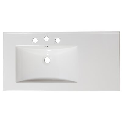 36 Single Bathroom Vanity Top Faucet Mount: 8 Off Center, Hardware Finish: Brushed Nickel