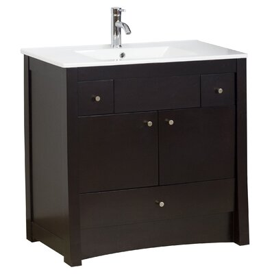 36 Single Transitional Bathroom Vanity Set Hardware Finish: Aluminum, Faucet Mount: Single
