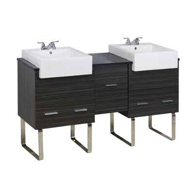 62 Double Modern Bathroom Vanity Set Hardware Finish: Brushed Nickel, Faucet Mount: 4 Off Center
