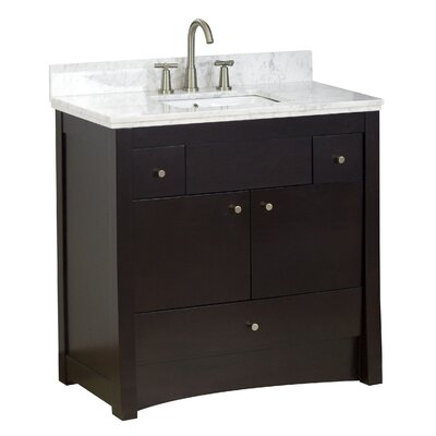 36 Single Transitional Bathroom Vanity Set Faucet Mount: 8 Off Center, Hardware Finish: Aluminum