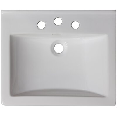 21 Single Bathroom Vanity Top Hardware Finish: White, Faucet Mount: Single