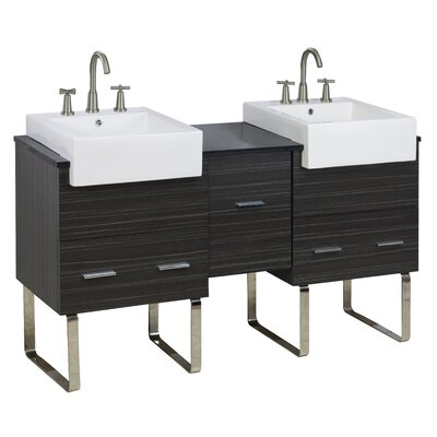 62 Double Modern Bathroom Vanity Set Faucet Mount: 8 Off Center, Hardware Finish: Brushed Nickel