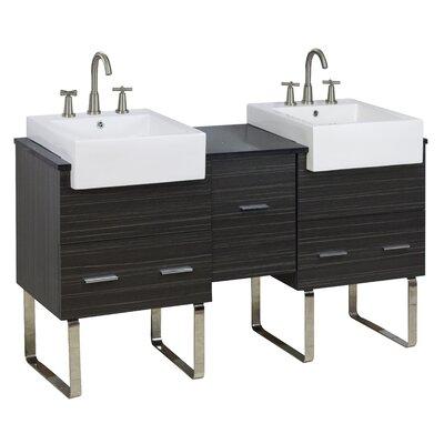 62 Double Modern Bathroom Vanity Set Hardware Finish: Brushed Nickel, Faucet Mount: 8 Off Center