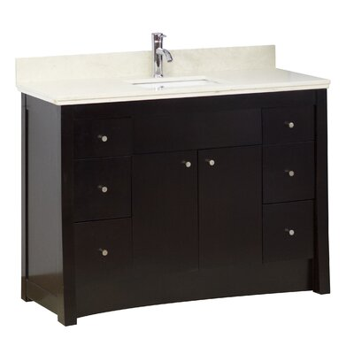 48 Single Transitional Bathroom Vanity Set Faucet Mount: 8 Off Center, Hardware Finish: Aluminum