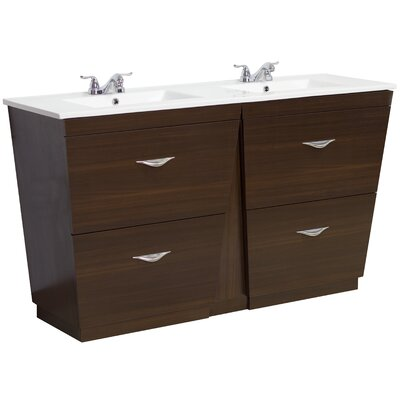 48 Double Modern Bathroom Vanity Set Faucet Mount: 8 Off Center, Hardware Finish: Chrome