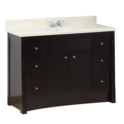 48 Single Transitional Bathroom Vanity Set Hardware Finish: Aluminum, Faucet Mount: 4 Off Center
