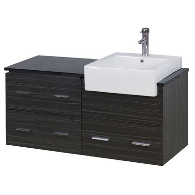 48 Single Modern Wall Mount Bathroom Vanity Set Hardware Finish: Chrome, Faucet Mount: Single
