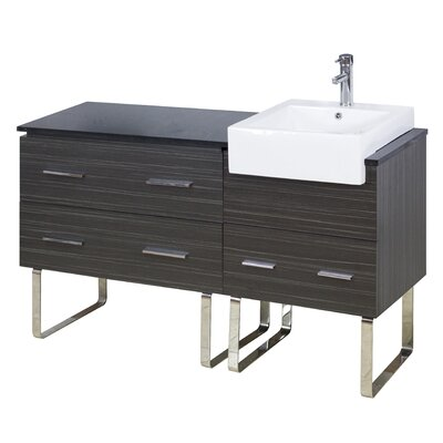 60 Single Modern Bathroom Vanity Set Faucet Mount: Single, Hardware Finish: Aluminum