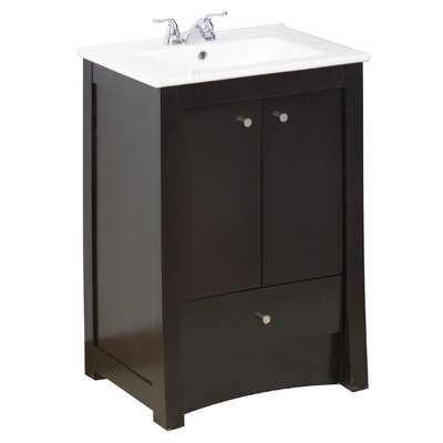 24 Single Transitional Bathroom Vanity Set Hardware Finish: Chrome, Faucet Mount: 4 Off Center