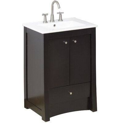 24 Single Transitional Bathroom Vanity Set Faucet Mount: 8 Off Center, Hardware Finish: Aluminum