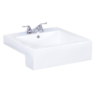 Xena Farmhouse Ceramic Rectangular Vessel Bathroom Sink with Overflow
