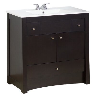 36 Single Transitional Bathroom Vanity Set Hardware Finish: Chrome, Faucet Mount: 4 Off Center