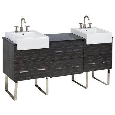 72 Double Modern Bathroom Vanity Set Faucet Mount: 8 Off Center, Hardware Finish: Brushed Nickel