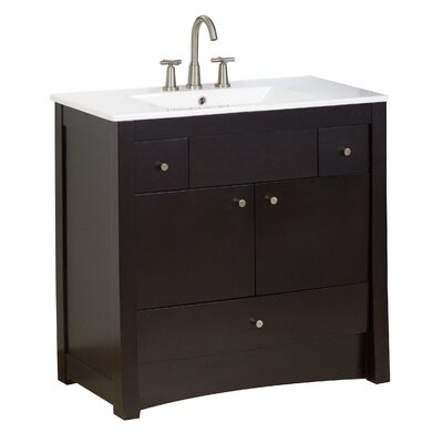 36 Single Transitional Bathroom Vanity Set Faucet Mount: 8 Off Center, Hardware Finish: Brushed Nickel