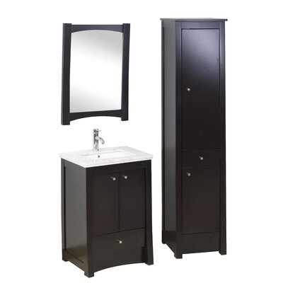 24 Single Transitional Bathroom Vanity Set Faucet Mount: 8 Off Center, Hardware Finish: Chrome