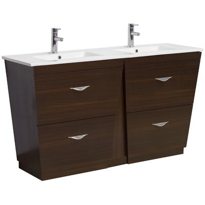 60 Double Modern Bathroom Vanity Set Hardware Finish: Brushed Nickel, Faucet Mount: Single