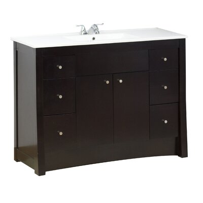 48 Single Transitional Bathroom Vanity Set Hardware Finish: Brushed Nickel, Faucet Mount: Single