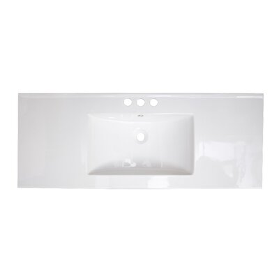 40 Single Bathroom Vanity Top Faucet Mount: 4 Off Center, Hardware Finish: White