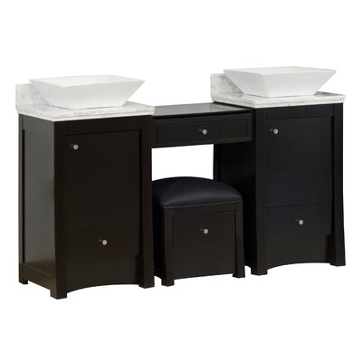 60 Double Transitional Bathroom Vanity Set Hardware Finish: Brushed Nickel