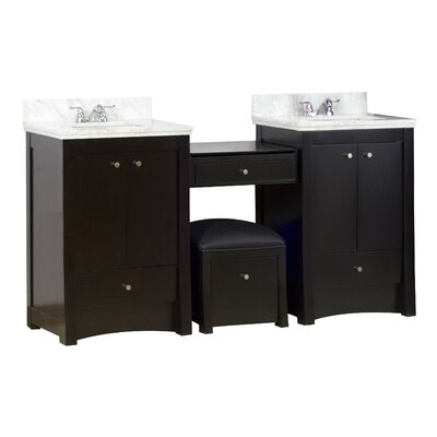 70 Double Transitional Bathroom Vanity Set Hardware Finish: Chrome, Faucet Mount: 4 Off Center
