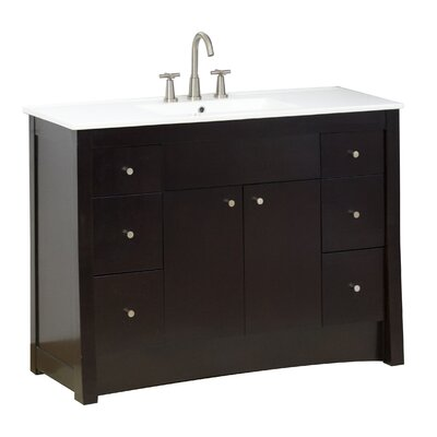 48 Single Transitional Bathroom Vanity Set Hardware Finish: Aluminum, Faucet Mount: 8 Off Center