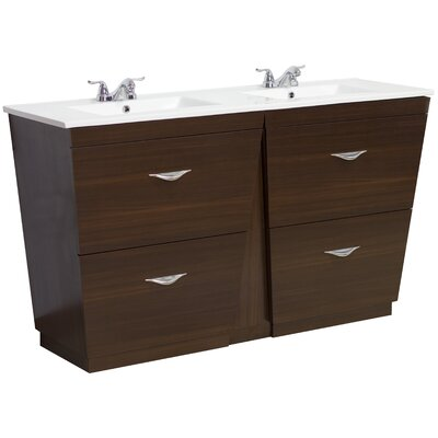 60 Double Modern Bathroom Vanity Set Faucet Mount: 4 Off Center, Hardware Finish: Brushed Nickel