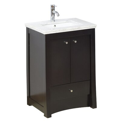 24 Single Transitional Bathroom Vanity Set Hardware Finish: Chrome, Faucet Mount: Single
