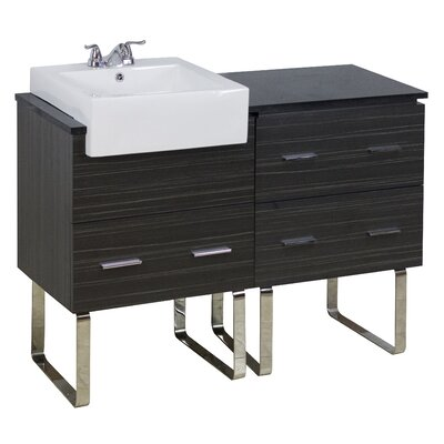 48 Single Modern Bathroom Vanity Set Faucet Mount: 4 Off Center, Hardware Finish: Brushed Nickel