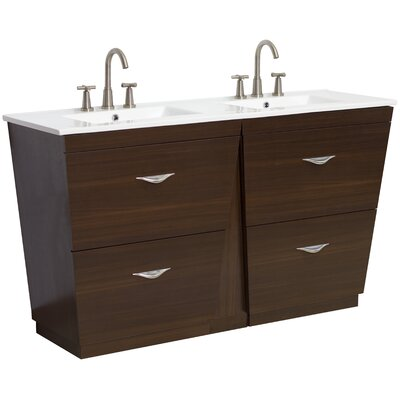60 Double Modern Bathroom Vanity Set Hardware Finish: Brushed Nickel, Faucet Mount: 8 Off Center