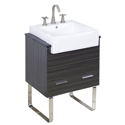 Xena Farmhouse Semi-Recessed Rectangular Vessel Bathroom Sink with Overflow