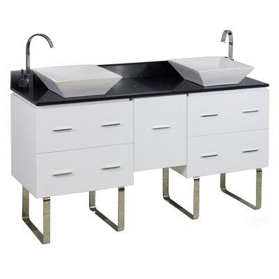 60 Double Modern Bathroom Vanity Set Hardware Finish: Chrome