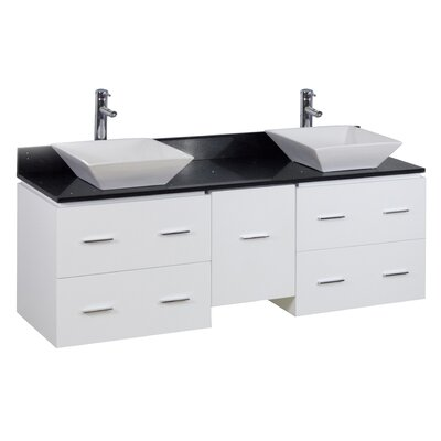 60 Double Modern Wall Mount Bathroom Vanity Set Hardware Finish: Aluminum