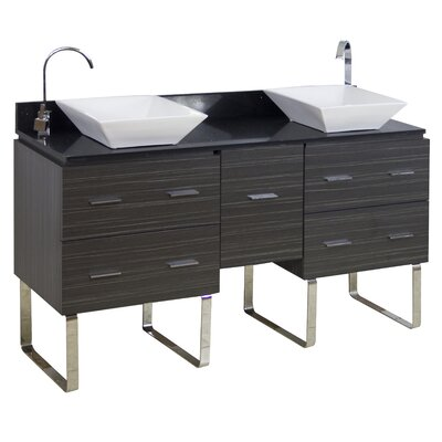 60 Double Modern Bathroom Vanity Set Hardware Finish: Brushed Nickel