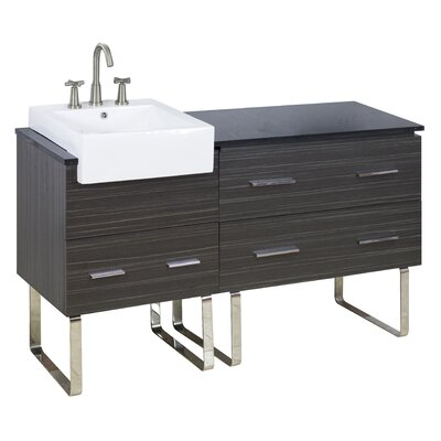 60 Single Modern Bathroom Vanity Set Faucet Mount: 8 Off Center, Hardware Finish: Aluminum