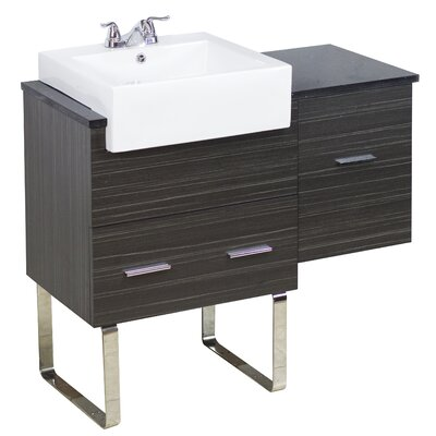 38 Single Modern Bathroom Vanity Set Hardware Finish: Aluminum, Faucet Mount: 8 Off Center